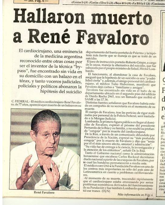 A 17 aos de su muerteLa carta de despedida de Favaloro