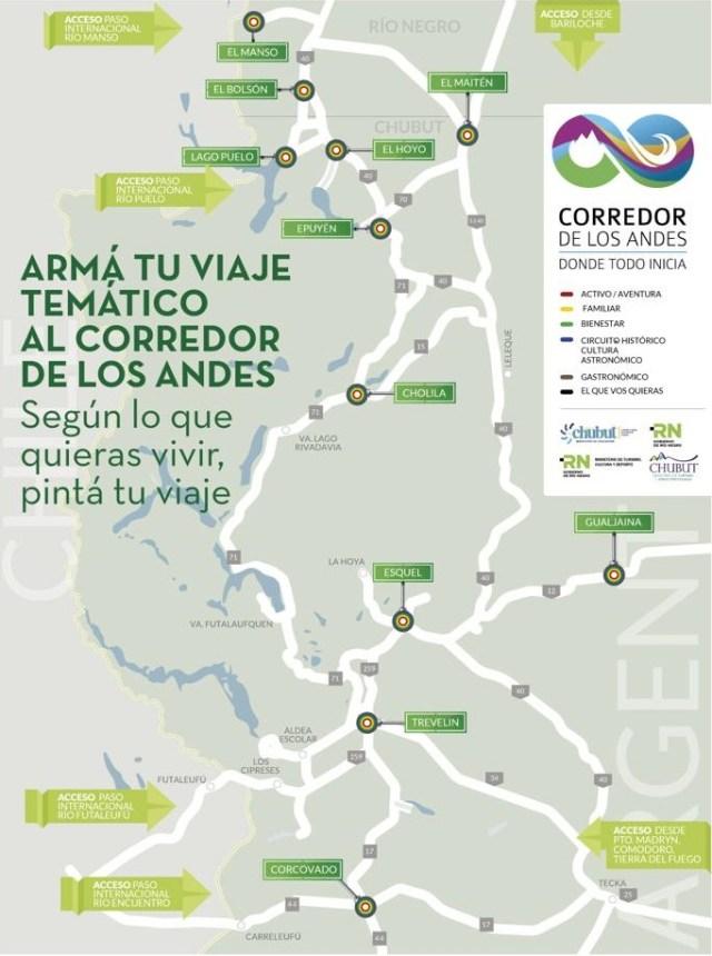 Mapa explicativo del Corredor de los Andes