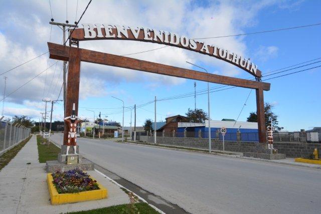 Portal de entrada a Tolhuin, base para los senderos.