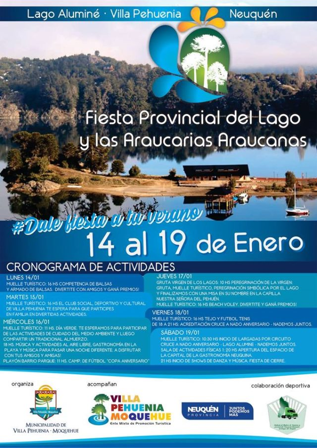 Cronograma de la fiesta del Lago y las Araucarias 2020