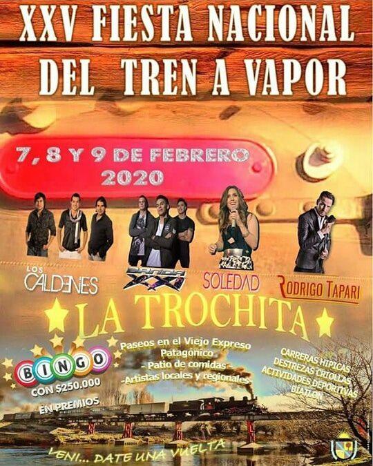 Flyer de la XXV Fiesta Nacional del Tren a Vapor en El Maitén.