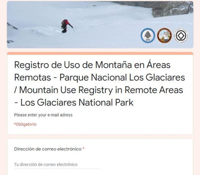 Planilla para completar el registro online de senderos de El Chaltén.