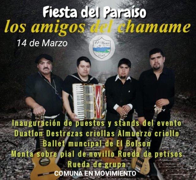 Flyer de las bandas que estarán presentes en la Fiesta del Paraíso de El Manso