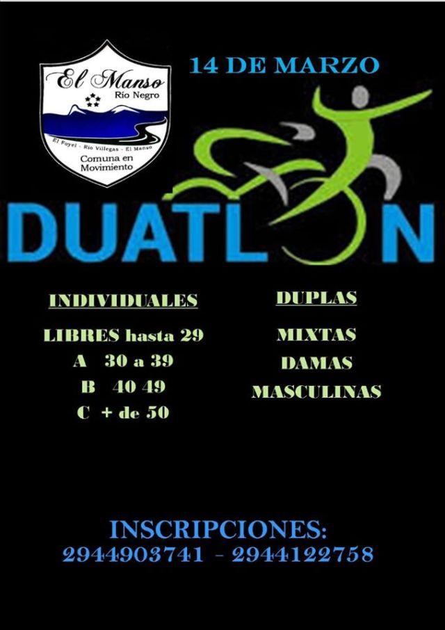 Flyer de duatlón que tendrá lugar en el marco de la Fiesta del paraíso en El Manso.