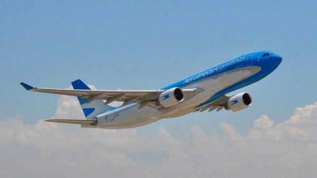 Avión Aerolíneas Argentinas. Previaje turismo.