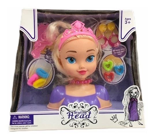 Muñeca Cabeza Princesa Para Peinar Juguete Niños