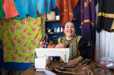 Ivonn Ena Paz Delgado makes and sells her hand-made clothing, San Sebastian Tutla.
