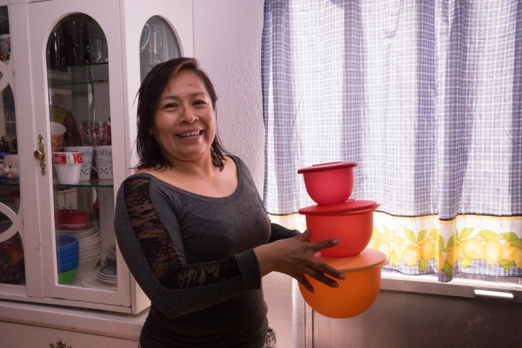 Erika de la Luz Alvino Calihua sells Tupperware from her home in San Andres Cholula, in the state of Puebla