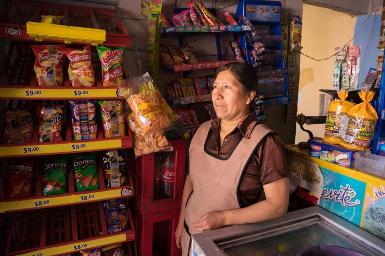 Flores Ramirez Brigida runs a tienda, Colonia Benito Juarez, outside of Puebla.