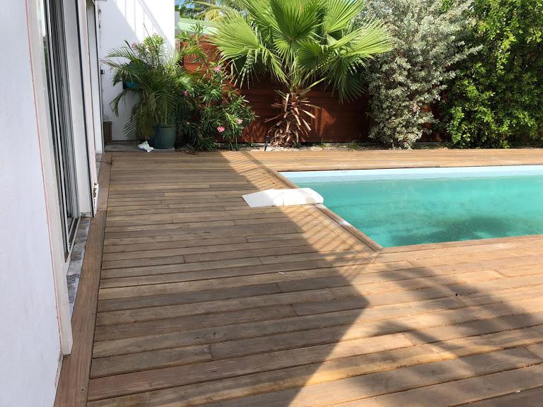 piscine terrasse bois plantes paysage arbres eau baie vitrée artisan