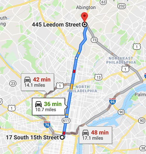 Distance from 17 S. 15th St, Philadelphia, PA to 445 Leedom St., jenkintown, Pennsylvania