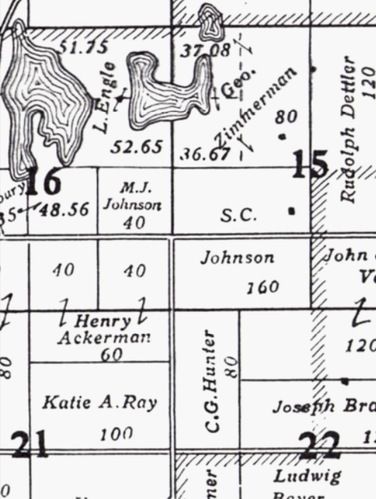 1914 Platmap for partial sections 15, 16, 21 and 22 of Birtch Dale Township, Todd County, Minnesota showing S.C. Johnson and M. J. Johnson acreage.