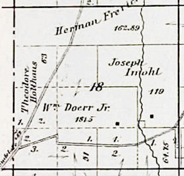 1886 Plat Map of Section 18, Military Township, Winneshiek County, Iowa