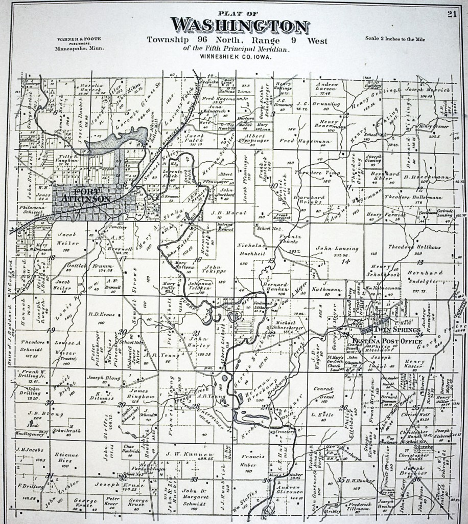 1886 Washting Township, Map, Winneshiek County,Iowa