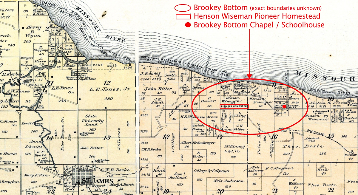 Map showing location of Brookey Bottom