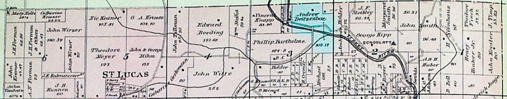 Andrew Dietzenbach Farm, 1896 Plat Map of Sections 1-6, Auburn Township, Fayette County,Iowa.