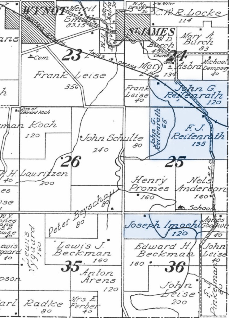 Partial 1917 Plat Map for Township 32N R2E Cedar County, Nebraska Showing Wynot, St. James and highlighted Reifenrath and Imoehl properties.