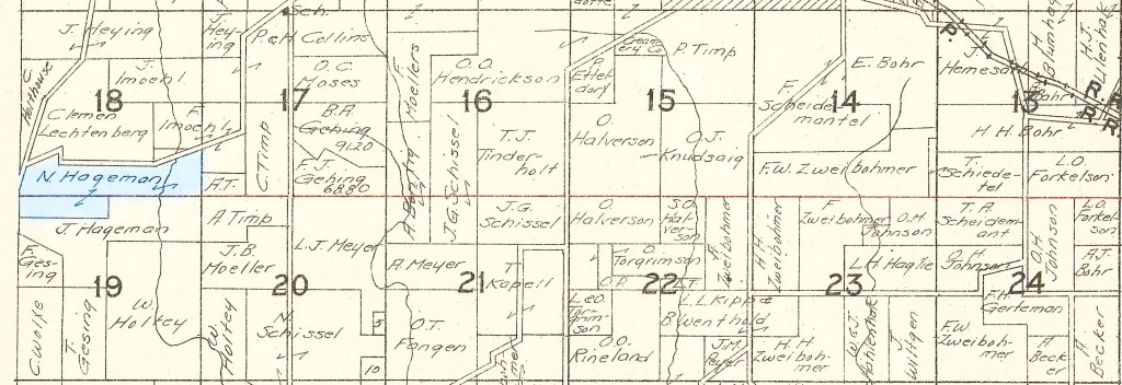 1930 Plat Map Military Township, Winneshiek County, Iowa, USA, sections 13-24. Nicholas Hageman farm highlighted in blue.