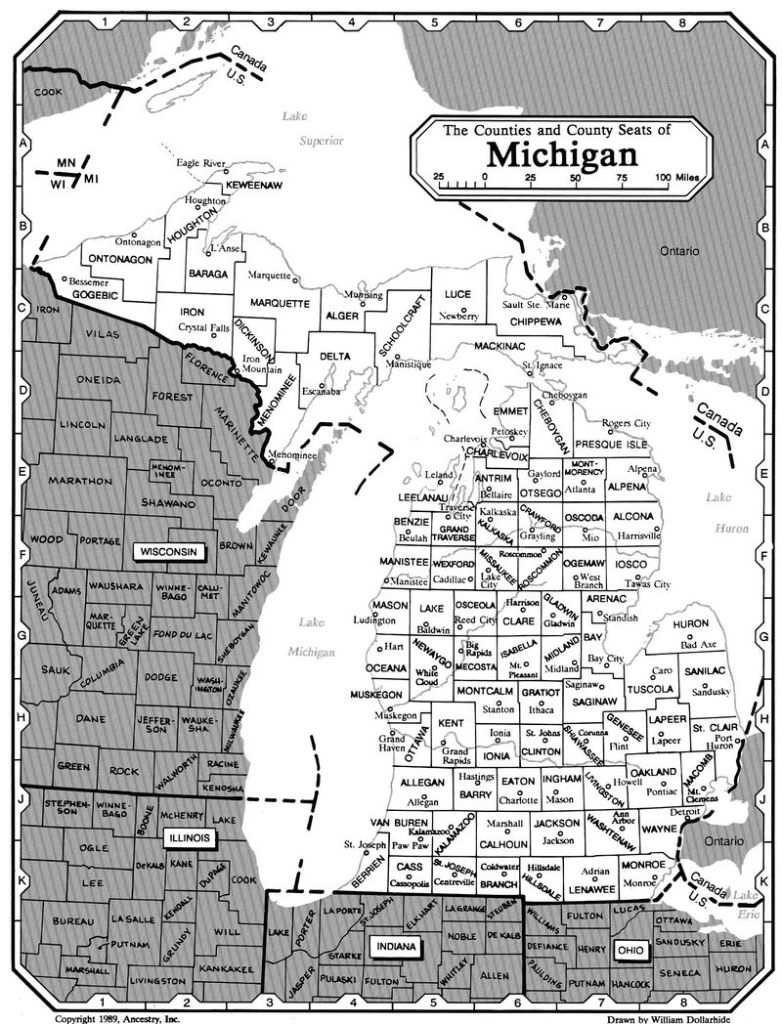 Michigan Counties and County Seats
