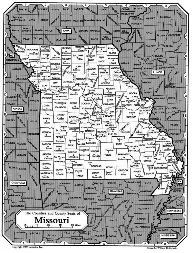 The Counties and County Seats of Missouri Map