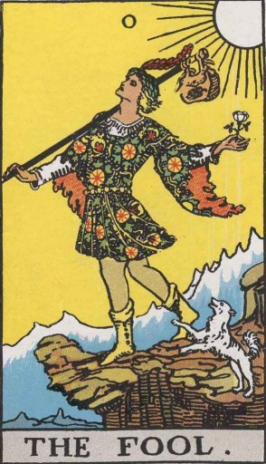 The Fool from the Rider-Waite Tarot deck