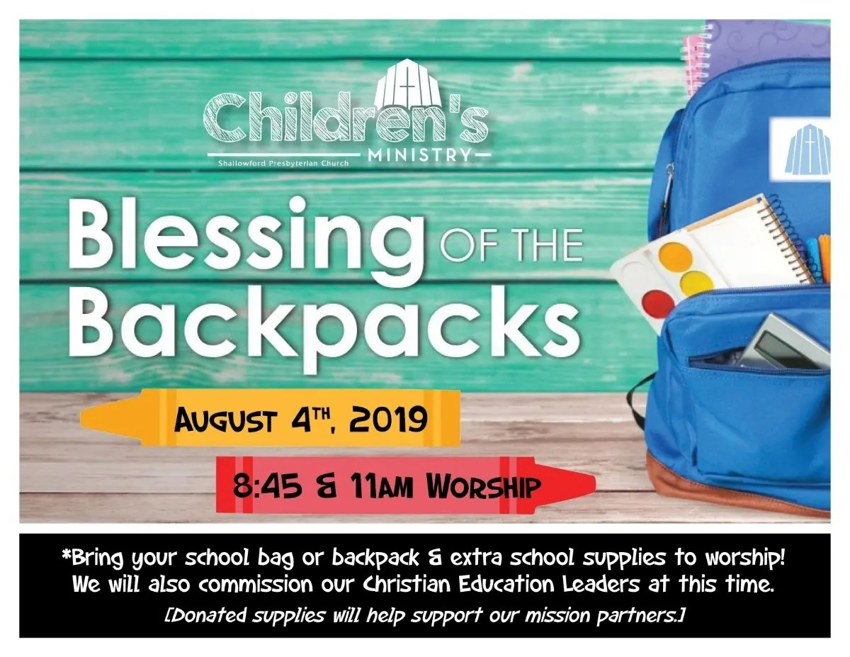 Blessing Of The Backpacks Set At Shallowford Pres., Sun