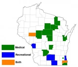 Counties where Wisconsin voters supported marijuana use referendums, Fall 2018.