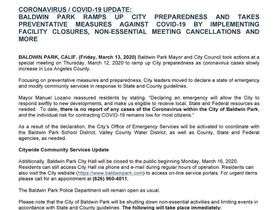 City of Baldwin Park - Coronavirus/COVID-19 Update | Baldwin Park ...