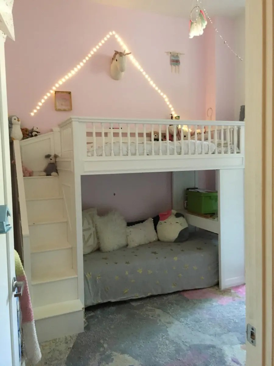 used pottery barn white loft bed with