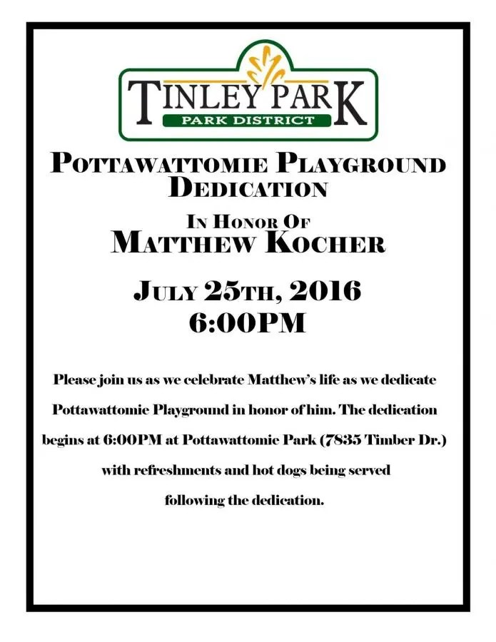 Tinley Park District to Dedicate Playground in Honor of