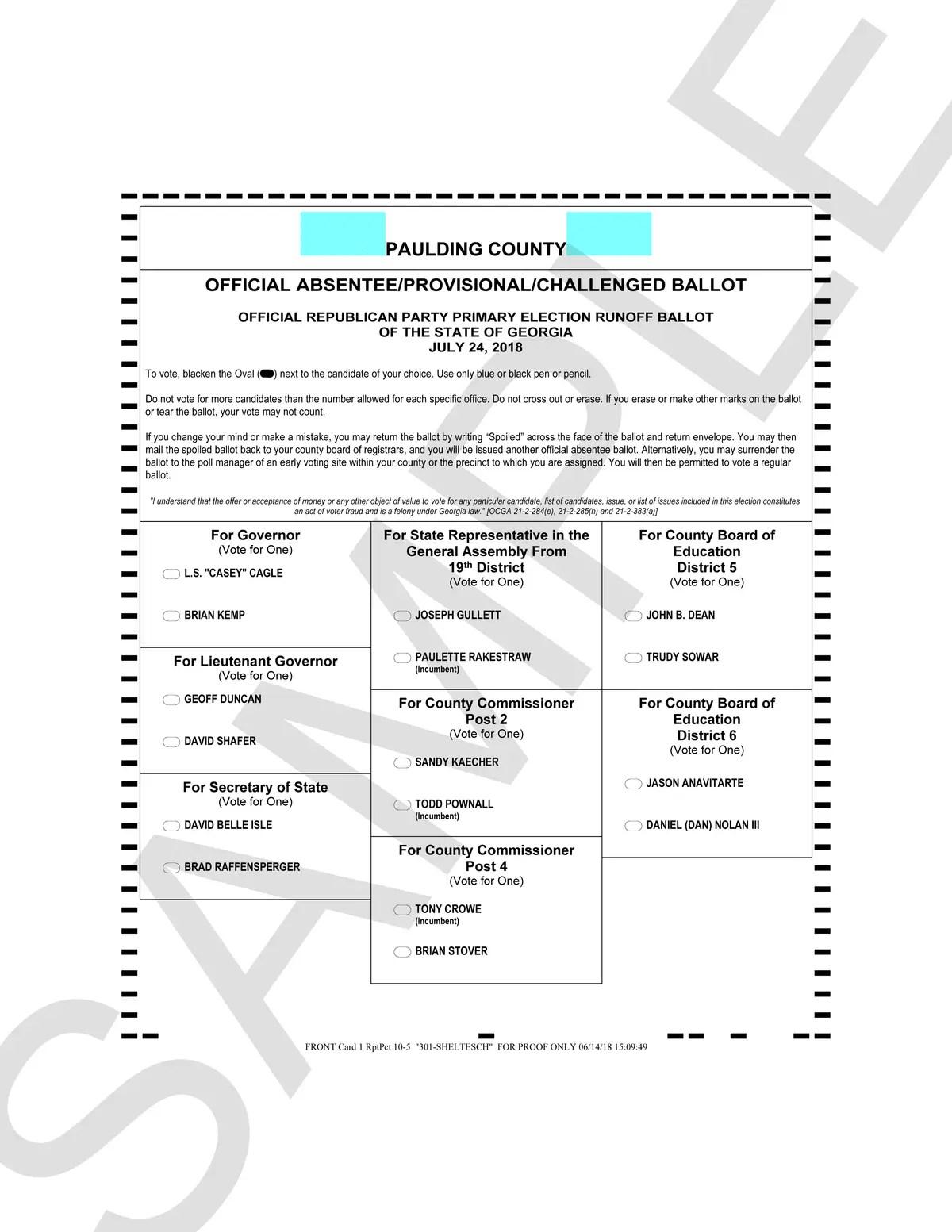 Voting Ballot Template 2018 Georgia