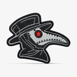 "Patch Bordado ""Plague Doctor"", Médico da Peste Steam Punk, com termocolante 8,5x6,9cm da PATCH GANG"