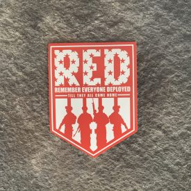 Remember Everyone Deployed Vinyl Decal-  Red/White Shield