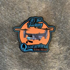 It's the QUARANTINA wine mixer V-22 Osprey Vinyl Decal