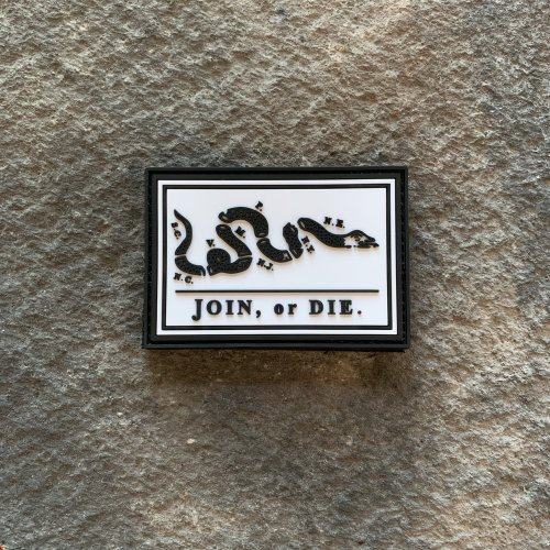 Join or Die Black & White PVC Patch