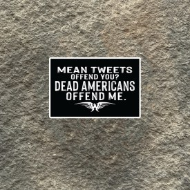 Ryan Weaver Collection:  Mean Tweets Offend You?  Dead Americans Offend Me Vinyl Decal