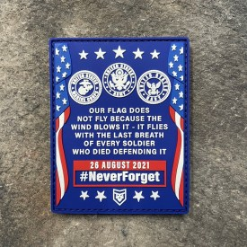 Never Forget 26 August 2021 Afghanistan PVC Morale Patch