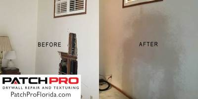 Florida drywall repair - before & after