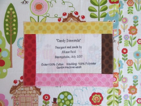 Candy Diamonds quilt label