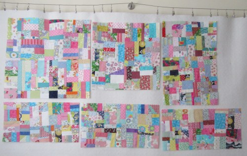 Super sized blocks on the design wall by Allison Reid