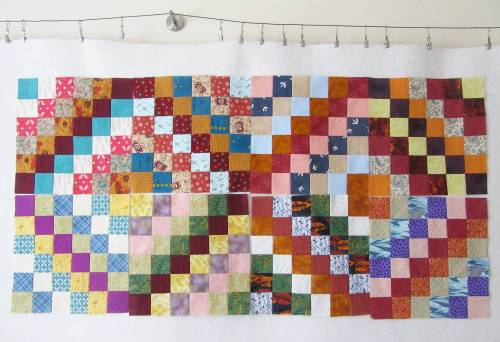 Trip Around the World Blocks (eight) on design wall by Allison Reid