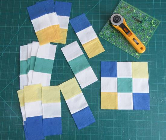 Secret Sewing strip sets and block by Allison Reid