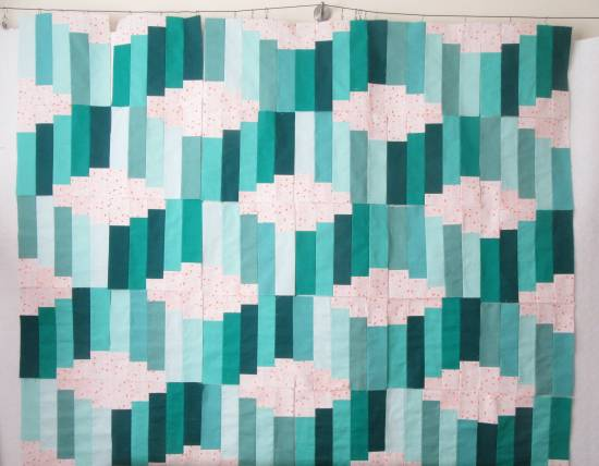 Jelly Roll Waves blocks on the design wall by Allison Reid