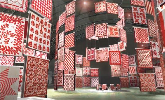 Exposición quilts rojo y blanco en el American Folk Museum de Nueva York