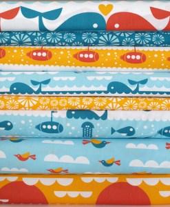 Telas de patchwork infantil de algodón orgánico Dan Stiles Marine de Birch Fabrics