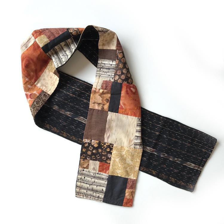 bufanda de patchwork e ikat hecha a mano