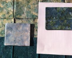 kit patchwork batik y tela para imprimir verde azul
