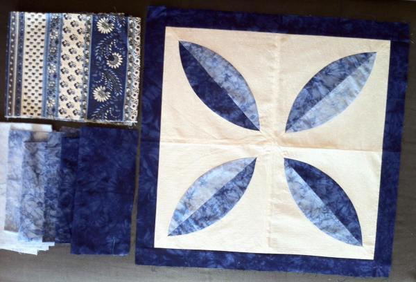 patchwork en gradiente de azules