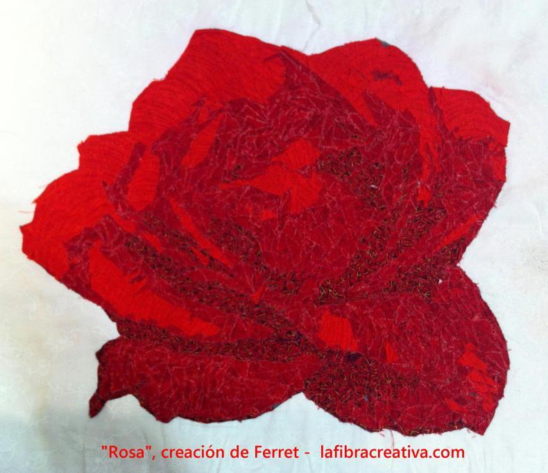 rosa en patchwork, creación Ferret