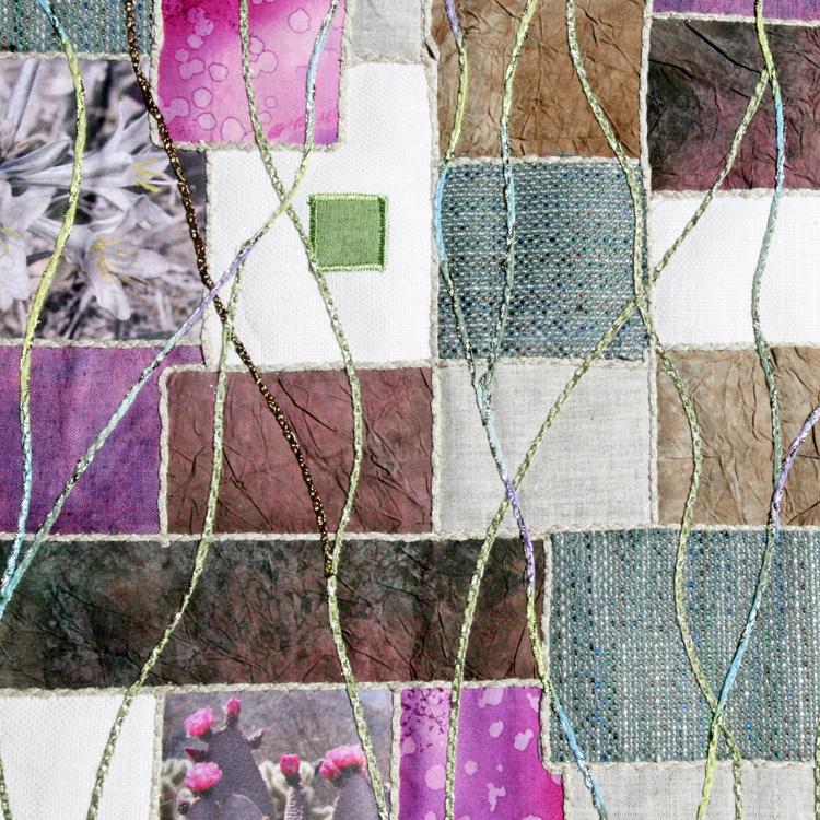 detalle cauching en quilt mural desierto en flor Fibra Creativa